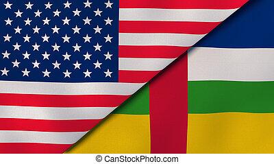 州, ニュース, 3d, アフリカ, republic., reportage, ビジネス, バックグラウンド。, イラスト, 旗, 中央である, 合併した
