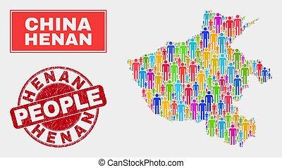 州, 地図, 人々, 切手, ゴム, henan, シール, 人口