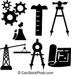 工学, セット, アイコン
