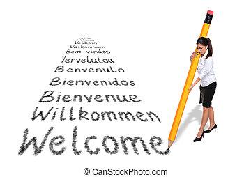 巨人, 単語, 女性実業家, 歓迎, 隔離された, 執筆, 言語, バックグラウンド。, 様々, 白, 鉛筆, ヨーロッパ