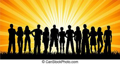 巨大, グループ, 人々
