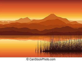 巨大, 日没, 湖, 山