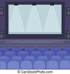 巨大, 映画館, スクリーン, 快適である, 席, ホール