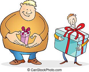 巨大, 贈り物, 大きい, 1(人・つ), 薄くなりなさい, 小さい, 人, 人