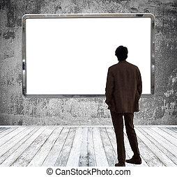巨大, 部屋, 見る, 広告板, ギャラリー, 空, 人