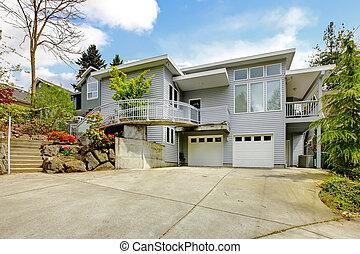 巨大, area., 家, 現代, 灰色, 大きい, 外面, 駐車