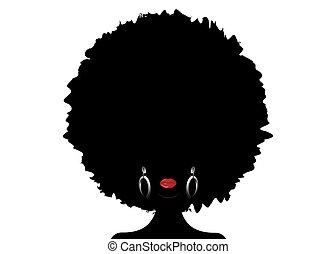 巻き毛, ヘアスタイル, 毛, concept., アフリカ, isolated., 暗い, 女, 伝統的である, 美しさ, ベクトル, 民族, 皮膚, アフリカ, 背景, ジャズ, 肖像画, 女性, シルエット, イヤリング, music., 顔, 白