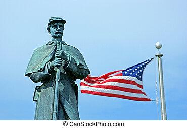 市民, アメリカの旗, 像, 戦争