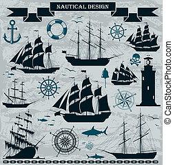 帆船, セット, elements., デザイン, 海事