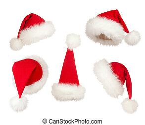 帽子, セット, クリスマス, santa