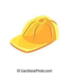 帽子, ベクトル, 野球, 黄色, イラスト