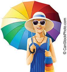帽子, 女の子, 傘