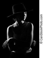 帽子, 女, 黒, 若い