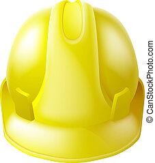 帽子, 懸命に, 安全, 黄色, ヘルメット