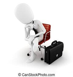 平になること, 動きなさい, モデル, 経営者, 次に, 背景, 白, 人, 椅子, 3d