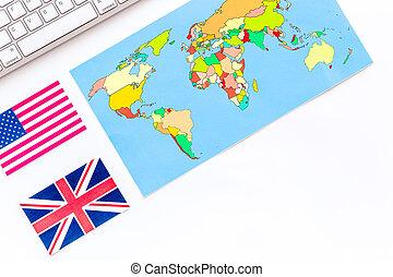 平になること, 地図, スペース, テキスト, 上, 旗, 背景, 白, 旅行, 光景