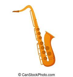 平ら, サクソフォーン, instrument., illustration., ベクトル, ミュージカル, ジャズ