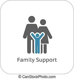 平ら, サポート, icon., 家族, design.