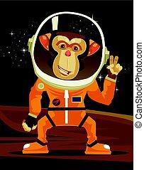 平ら, サル, スペースイラスト, suit., ベクトル, 宇宙飛行士, 微笑, 漫画, 幸せ