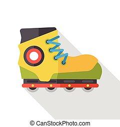 平ら, スケート, 交通機関, ローラー, アイコン