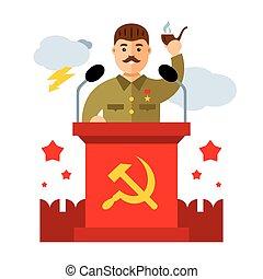 平ら, スタイル, カラフルである, character., イラスト, リーダー, ベクトル, ソビエト, 漫画, parodic
