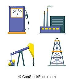平ら, スタイル, 石油産業, セット, アイコン