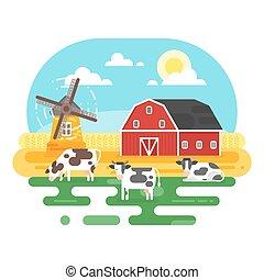 平ら, スタイル, 農場, イラスト, ベクトル, cows.