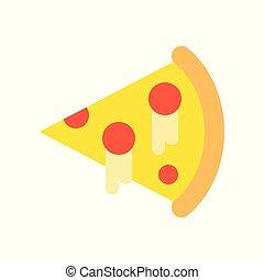 平ら, スライス, ピザ, 美食, セット, 食物, アイコン