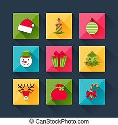 平ら, セット, アイコン, クリスマス, デザイン, style.