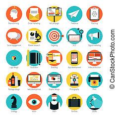 平ら, セット, アイコン, マーケティング, デザイン, サービス