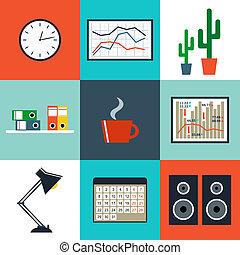 平ら, セット, オフィス, もの, 装置, ベクトル, objects.