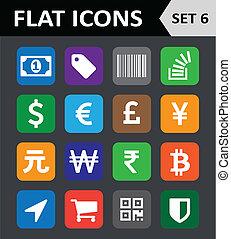平ら, セット, カラフルである, 普遍的, icons., 6.