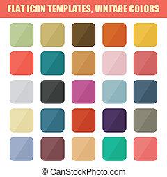 平ら, セット, 型, app, ベクトル, backgrounds., palette., テンプレート, アイコン