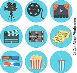 平ら, セット, 映画撮影, ベクトル, 要素, すてきである