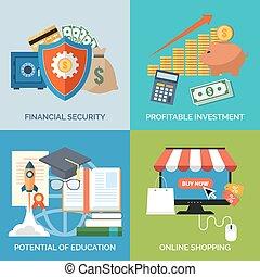 平ら, セット, 財界のアイコン, business., 概念, デザイン, securit