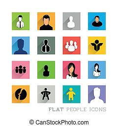 平ら, デザイン, アイコン, 人々