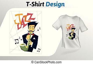 平ら, バックグラウンド。, の上, 隔離された, tシャツ, プレーヤー, ベクトル, サクソフォーン, デザイン, 白, print., template., mock, テンプレート