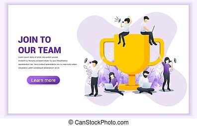 平ら, パートナー, ベクトル, 大きい, 成功した, トロフィー, members., concept., 網, 旗, 参加しなさい, イラスト, work., チーム, ビジネス, 見る, 新しい, 人々, 私達の