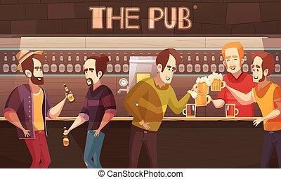 平ら, ビール, ベクトル, pub, イラスト