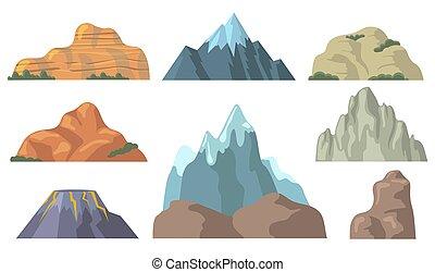平ら, ピークに達する, セット, 山, アイコン, 様々