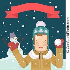 平ら, ベクトル, クリスマス, イラスト