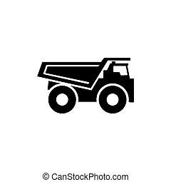 平ら, ベクトル, トラック, ゴミ捨て場, アイコン