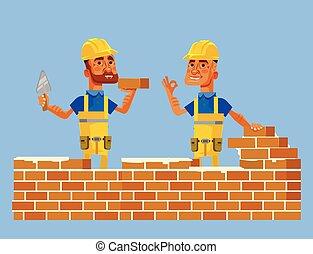 平ら, ベクトル, 労働者, イラスト, wall., 建設, 位置, 特徴, 微笑, れんが, 漫画, 幸せ