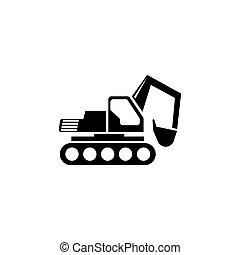 平ら, ベクトル, 掘削機, アイコン