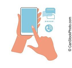 平ら, ポイント, gadgets., 把握, インターネット, ベクトル, 電話, illustration., スクリーン, オンラインで, 使うこと, finger., 手, コミュニケーション