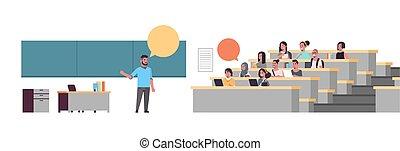 平ら, 上に, 概念, モデル, 生徒, 黒板, 大学, 教授, 長さ, フルである, 大学, チャット, コミュニケーション, 講義, 横, 教育, 泡, ホール