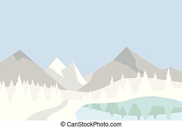 平ら, 丘, 山, 木, 反映された, lake., シルエット, ベクトル, 風景