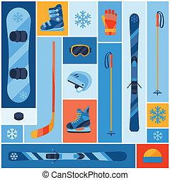 平ら, 冬, icons., スポーツ装置, 背景