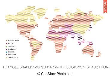 平ら, 地図, infographic., ベクトル, 世界, world.