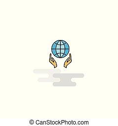 平ら, 地球, ベクトル, icon., 手